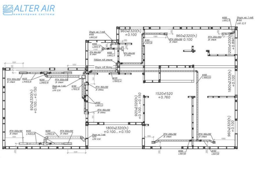 Схема вентиляції будинку (2 поверх)
