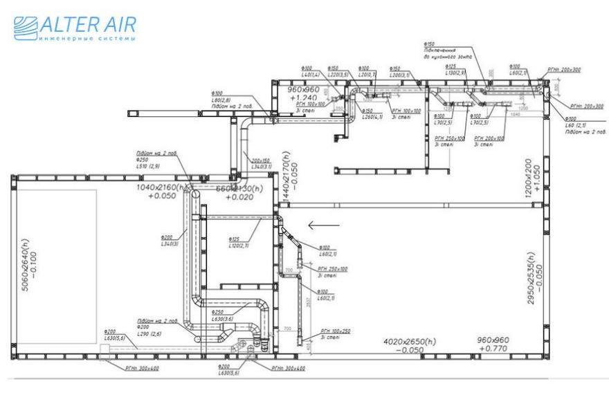 Креслення системи вентиляції у котеджі (1 поверх)