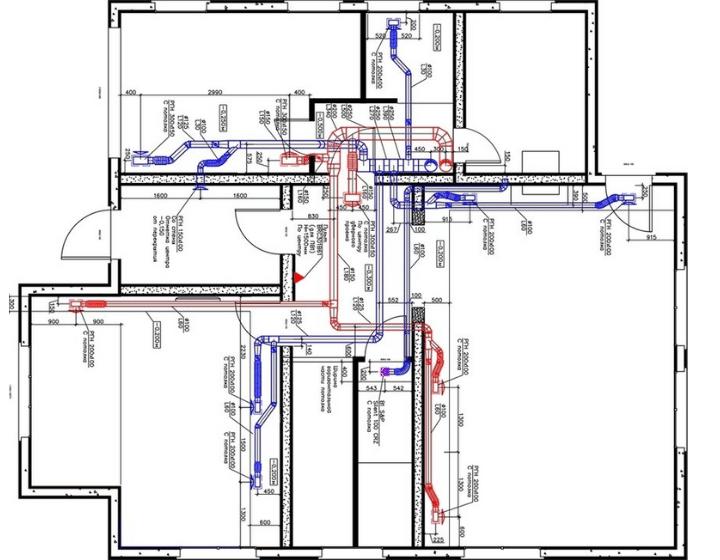 Вентиляция и кондиционирование на первом этаже