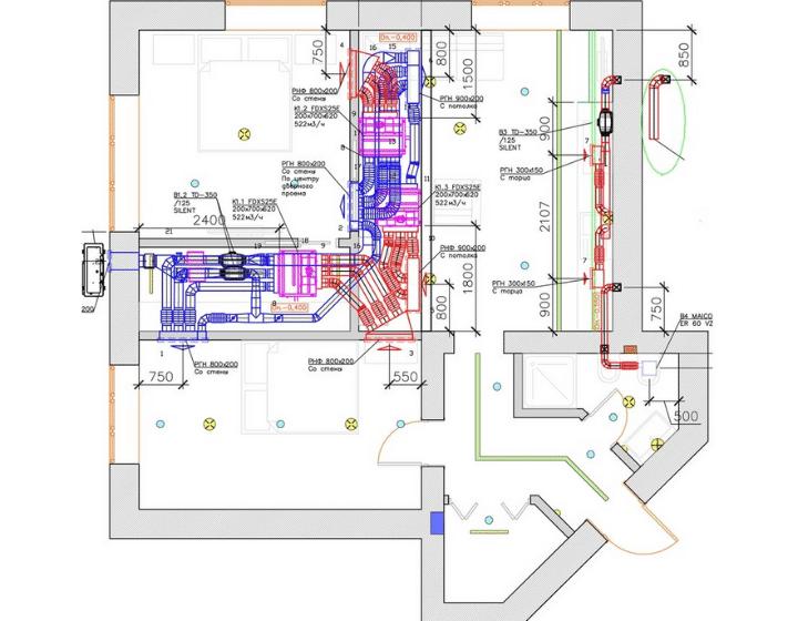 Чертеж системы вентиляции и кондиционирования воздуха в квартире