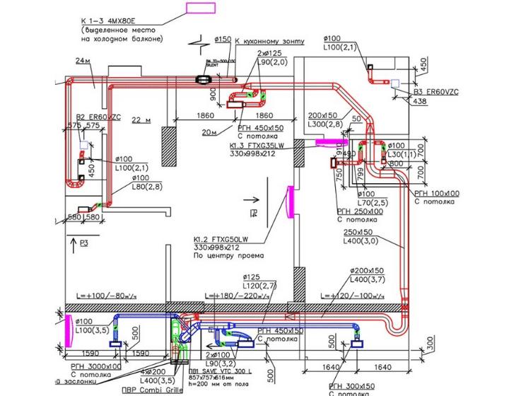 План квартири з нанесенням системи вентиляції та кондиціювання