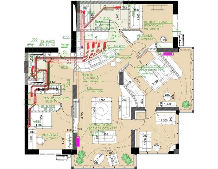 План вентиляции квартиры в ЖК «RiverStone»