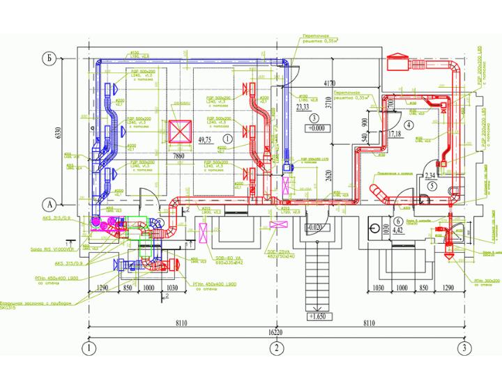 Проект-чертеж вентиляции и кондиционирования спортзала