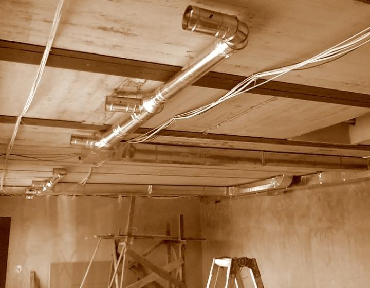 Разводка системы круглых воздуховодов вентиляционной системы