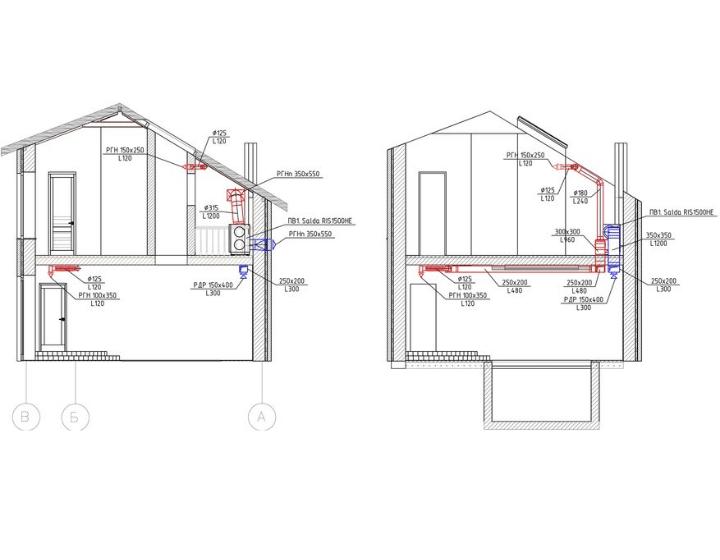 Дом в разрезе с системой вентиляции и осушения воздуха