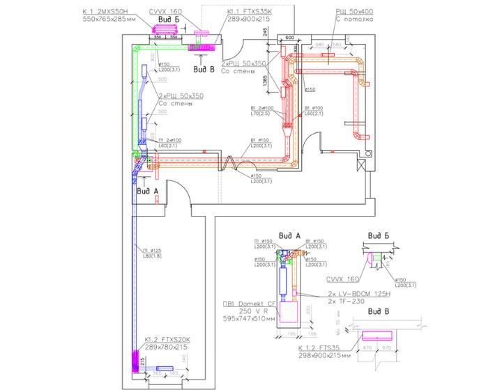 Креслення системи вентиляції та кондиціонування квартири