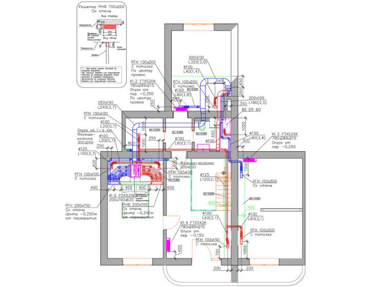 Креслення 2. Поверх 2. Забезпечили оптимальні параметри повітряного комфорту в квартирі за допомогою центральної системи вентиляції і мульти-спліт-системи кондиціонування Daikin