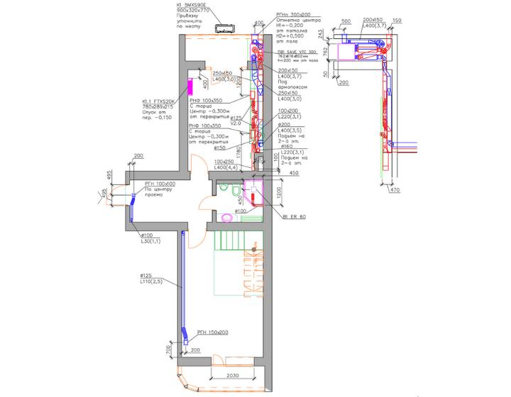 Креслення 1. Поверх 1. Забезпечили оптимальні параметри повітряного комфорту в квартирі за допомогою центральної системи вентиляції і мульти-спліт-систем кондиціонування Daikin
