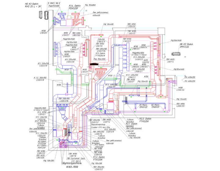 Креслення систем вентиляції, кондиціонування тв парозволоження