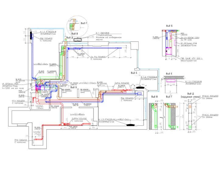 Чертеж для проекта вентиляции, увлажнения и кондиционирования воздуха