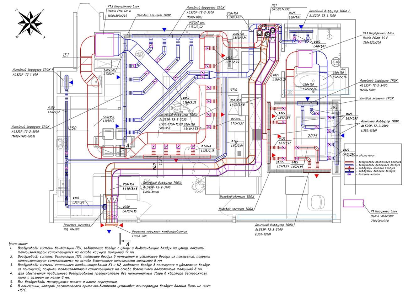 План квартири і розташування інженерних систем - вентиляції та кондиціонування